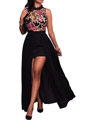 858 - Plus Size Sheer Mesh Embroidery Chiffon Hi Low Maxi Dress (1X, Black High Neck)