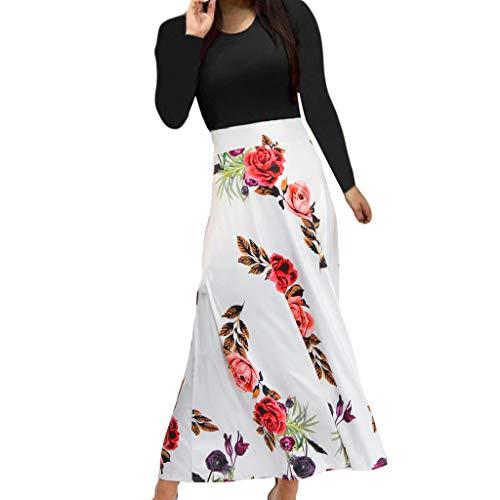 Deloito Frauen Mode Elegant Langarm Kleid Floral Print Polka Dot Boho Abendkleid Langes Rundhals Maxikleid Damen Lässige Partykleid (Weiß,Medium)