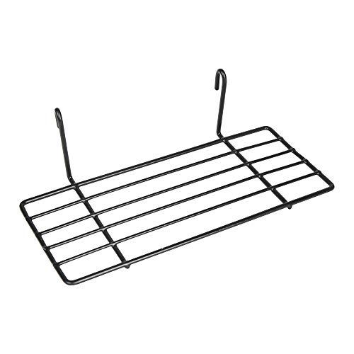Edaygo Wandgitter Zubehör, Einhäng-Regal, Ablage zum Einhängen, Draht-Regal, Schwarz, 25 x 10 x 7 cm