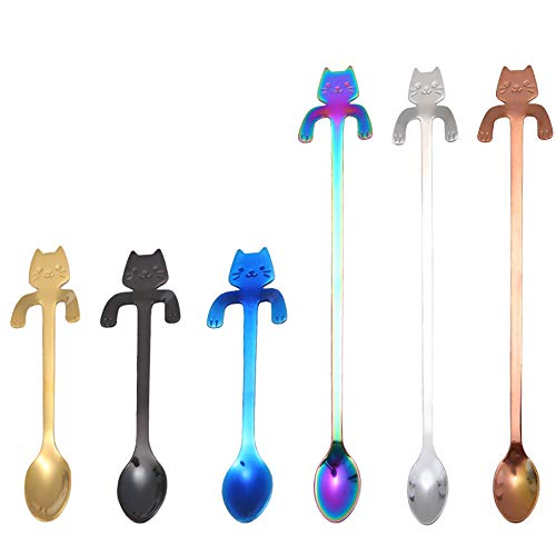 6 PCS Cat Spoon Coffee Tea spoon Set ESRISE Stainless Steel Hanging Cup Teaspoons Demitasse Mini Long Cute Kitten Stirring Spoon for Dessert Drink Mixing Milkshake Multi