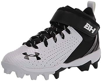Under Armour boys Harper 5 Mid Rm Jr Baseball Shoe White  101 Black Big Kid US