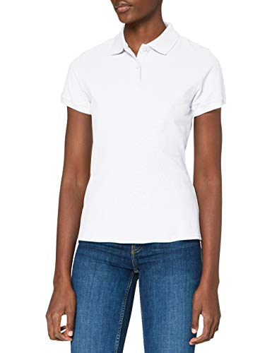 Fruit of the Loom,Premium Polo Donna, White, Small