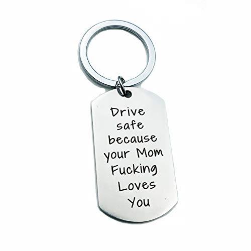 DOLOVE Schlüsselbund Partner Schlüsselanhänger Damen Drive Safe Because. Schlüsselanhänger Edelstahl Mit Gravur