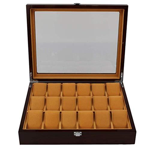 Caja de Almacenamiento de Reloj de Madera Caja de Almacenamiento de exhibición de 18 Ranuras Caja de Estera Desmontable Cubierta de Vidrio Caja de baratija de joyería Caja de Almacenamiento Regalo d