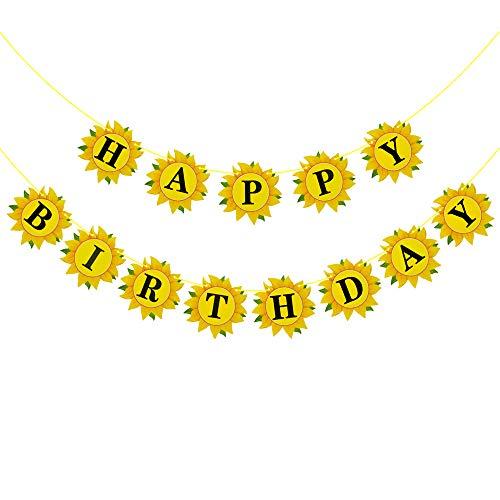Rainlemon Sunflower Happy Birthday Banner Girl Birthday Party Decoration Supply