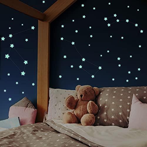 400 Leuchtsterne selbstklebend [Perfekter Halt auf allen Oberflächen] Sternenhimmel Aufkleber - Rückstandslos zu entfernen- inkl. Sternzeichenanleitung - Leuchtsticker Kinderzimmer
