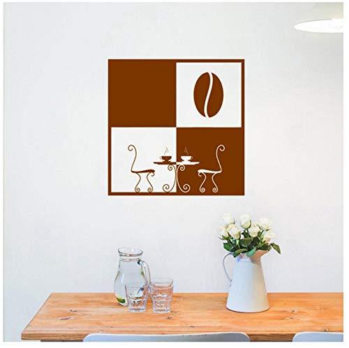 Muursticker Modern Koffie Beker Raam Sticker Keuken Decoratie Ontbijt Thee Tafel Patroon Art Design Home Decor DIY57x57cm