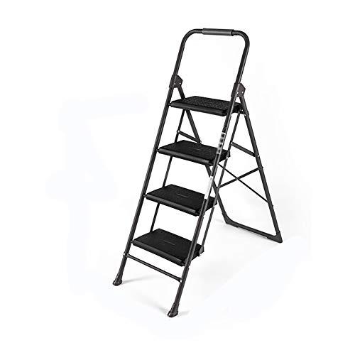 DZ JH& Paso Heces Familia Capa Metálica 2/3/4 Escalera Plegable Taburete Pequeño Función Interior Construcción (Negro) (Tamaño : 4Steps)