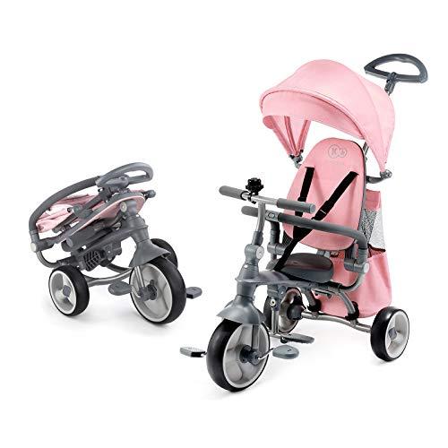 Kinderkraft Triciclo 4 in 1 JAZZ, Compatto, Pieghevole, Ampia Cappottina, Accessori, per Bambini, 9 Mesi - 3 Anni, Rosa