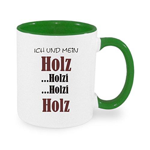 Creativ Deluxe Ich und Mein Holz - holzi holzi Holz Kaffeetasse mit Motiv, Bedruckte Tasse mit Sprüchen oder Bildern