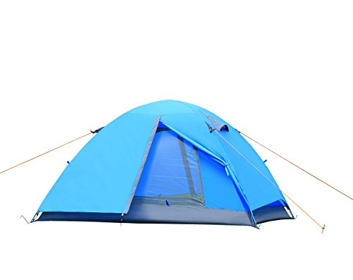 Lelly Q 2 Person Camping Tent,Double Layer Windproof Waterproof 3 Season Backpacking Tents for Hiking Travel Outdoor Beach (Blue)