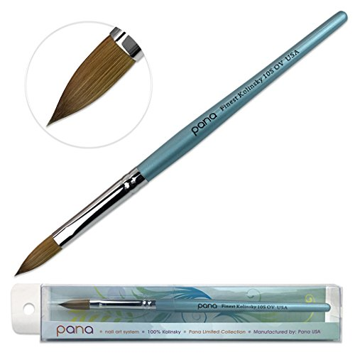 Pana USA Acrylic Nail Brush100% Pure Kolinsky Hair New Teal Wood Handle with Silver Ferrule Oval Crimped Shaped Style (Size # 10)