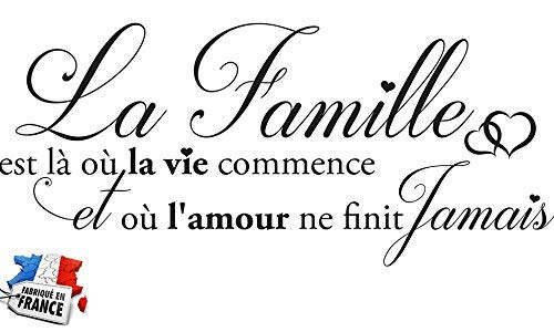 Sticker La Famille C'est là où la Vie Commence. Taille 60x25 cm - Marque Beestick (Noir) - Fabrication France.