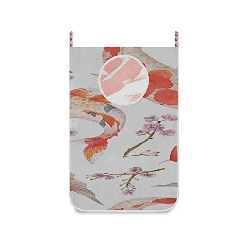 ZHANGhome Faltbarer Wäschekorb Japanische Koi Fische Lucky Door Wäschekörbe Mit Frei Einstellbarer Edelstahltür 2 STK. Saugnapf Platzsparend