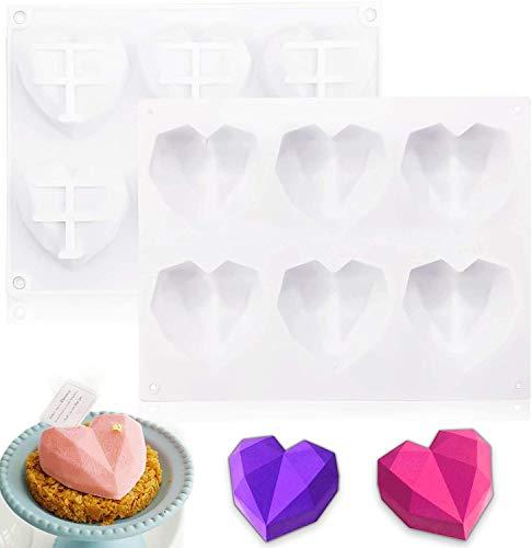 2 Stücke Herzform, spezielle 3D-Diamant-Herzform, Schokolade Bar Silikon Herzform, Diamant Herz Formen zum Backen Käsekuchen, Mousse, DIY Schokolade, Eis, Fondant (Weiß)