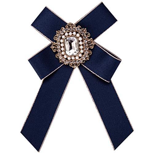 THTHT Broche Vintage Femmes Ruban Bowknot Grande Robe Chemise Dentelle Noeud Papillon Broche Collier Cristal Mode Accessoires Broches Corsage Bleu Bijoux