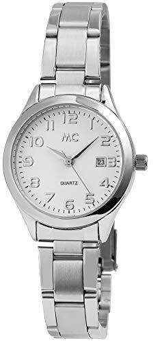 MC Timetrend Germany Damenuhr Weiß Silber Analog Datum Edelstahl Armbanduhr