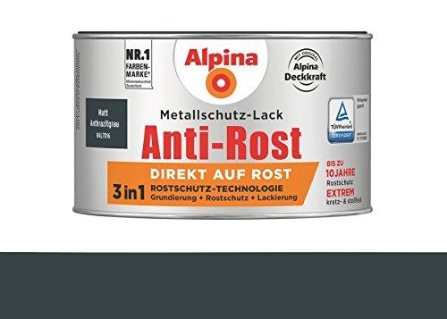 Alpina 300 ml Metallschutz-Lack, 3in1 Direkt auf Rost, RAL 7016 Anthrazitgrau Matt