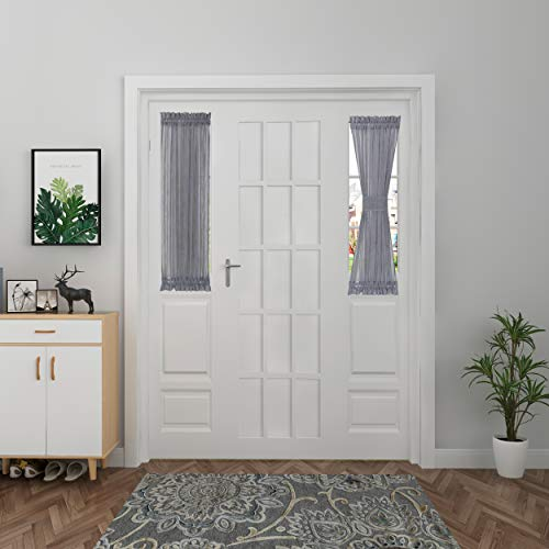Aquazolax Sidelight Curtains for Front Door Linen Look Semi Voile Entry Door Side Window Curtains French Window Treatment Rod Pocket for Small Windows, 1 Panel, W30 x L40 Inch, Grey