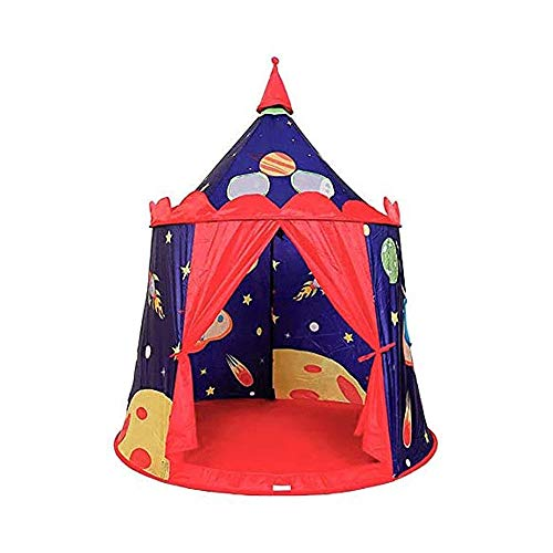 Bdesign Prince Castle Play Tent for Boys Toddlers, Indoor and Outdoor Playhouse, Portable Pop Up Play Teepee with Carry Bag, Gift for Kids, Blue