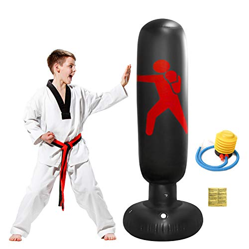 OXYVAN Inflatable Punching Bag for Kids 63 Inch Punching Bag with Stand Freestanding Punching Bag Heavy Duty for Boxing Practicing Karate Training for Youth & Adult Indoor & Outdoor, Black