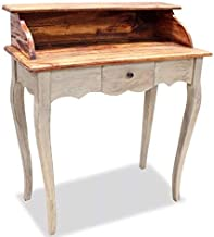 Vintage Writing Desk Small Side Table Antique Country French Furniture Secretary Bureau Solid Reclaimed Wood Industrial Farmhouse Style 1 Drawer Wooden Shabby Chic Storage Victorian Dressing Room Unit