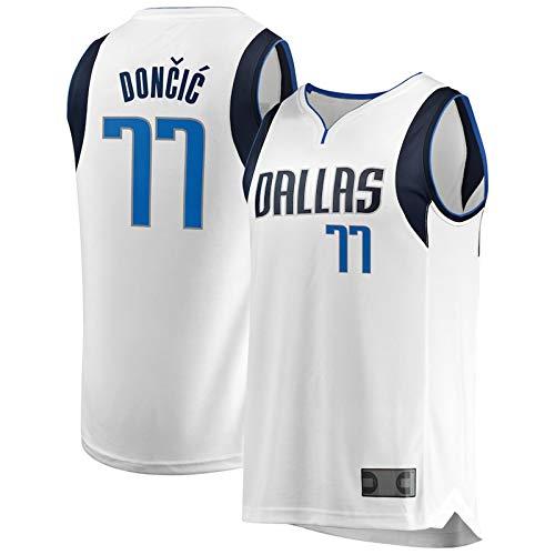 USNN Camiseta de baloncesto personalizada Luka Dallas #77 Mavericks Doncic Youth NBA Draft First Round Pick Fast Break Replica Jersey Sudadera de secado rápido para niños, edición icono, color blanco