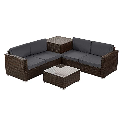 Panana 4 Seater Rattan Furniture Set Lounge Corner Sofa Set with Storage Cabinet Coffee Table Garden Patio Conservatory Outdoor Brown Wicker with Dark Grey Cushions