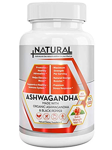 Organic Ashwagandha Capsules Anti-Stress Supplement: 1950mg Ashwagandha Root & Black Pepper Natural Supplement for Anxiety Relief Adrenal & Thyroid Support| Organic Energy & Mood Booster|