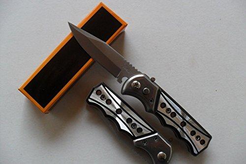 Lapetitecaverne CP-PC-012 - Petit Couteau Automatique Lame Acier 6,5 Cm Manche Alu Trous 8,5 Cm Chasse Pêche Bivouac
