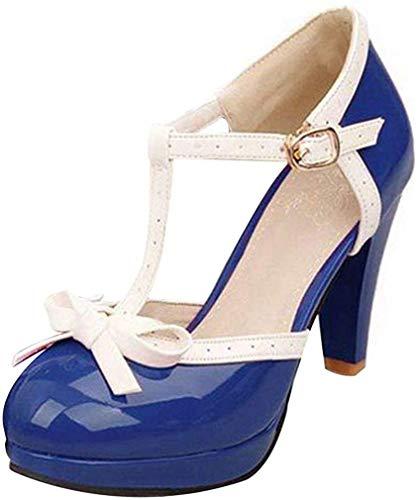Damen T Spangen High Heels Plateau Pumps mit Blockabsatz Vintage Rockabilly Lolita Cosplay Geschlossen Schuhe(Königsblau,38)