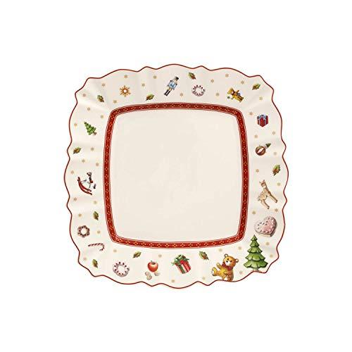 Villeroy & Boch Toy's Delight Assiette petit-déjeuner carrée, 22 x 22 cm, Porcelaine Premium, Blanc/Rouge