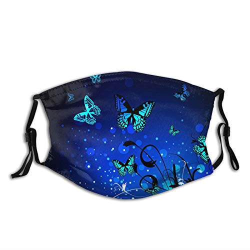 Bright Blue Butterfly With Flowers Face Mask With Filter Pocket Washable Face Bandanas Balaclava Reusable Fabric Mask For Men Women