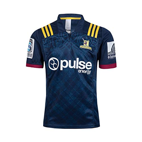 Highlander Herren Rugby Jersey Fußball Trikot Poloshirt-Unisex Trainingshemden Sportswear Mesh Schnelltrocknende Langarm Fans Sweatshirt, Geburtstagsgeschenk-S