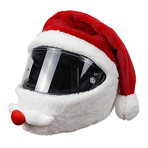 Casco De Motocicleta Sombrero De Navidad, Funda De Felpa Funda De Casco Completo Personalizada para Exterior De Motocicleta Divertido Disfraz De Santa Se Adapta