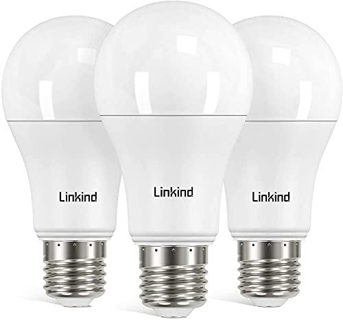 Linkind Bombilla LED E27, luz de tornillo Edison regulable, 13 W para reemplazar 100 W incandescente, blanco cálido (2700 K), bombilla 1521LM A60, ERP, certificado CE, paquete de 3