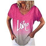 Xmiral T-Shirt Top Stampa Casual con Scollo a V a Maniche Corte con Posizionamento Gradiente ( M,2Rosa )