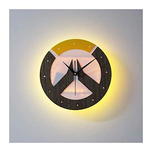 HongLianRiven Lámpara de Pared Lámpara de Pared Reloj LED Luz Noche Reloj de Pared Control Remoto inalámbrico Iluminación Multi-Color Decoración del hogar Lámpara de Pared Lámpara de Noche