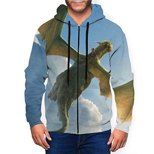 Pete's Dragon Men's Hoodie with Zip Pocket Hoodies Casual Sports Coat S Black