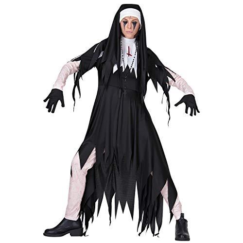 Bold Manner Damen Nonnen KostümHexenkostüm Zombie Vampir Faschingskostüm Lang Hexenkleid Mädchen Kleid und Kopfbedeckung