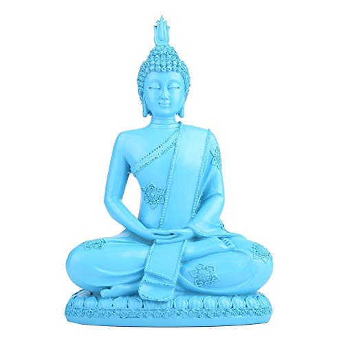 KSTE Resin Blue Buddhist Buddha Figure Statue Religious Sculpture Handmade Craft Decoration