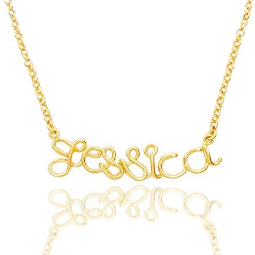 COLLANA con NOME personalizzabile,filo piegato a mano, qualsiasi nome ragazza donna figlio figlia, in ARGENTO 925, placcatura a scelta oro giallo,oro rosa,argento.