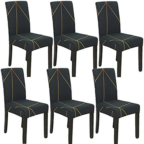 JMYDecor Coprisedie con Schienale, 6 Pezzi Coprisedia Elastico per Coprisedie Sala da Pranzo Rivestimento Sfoderabile, Fodere Sedie con Schienale Copertura Protettiva per sedie