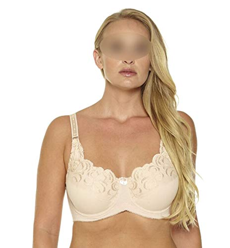 Plus Size Bra No-Padded Lingerie Large Size Bralette Underwear for Women with Underwire,Beige,E,44