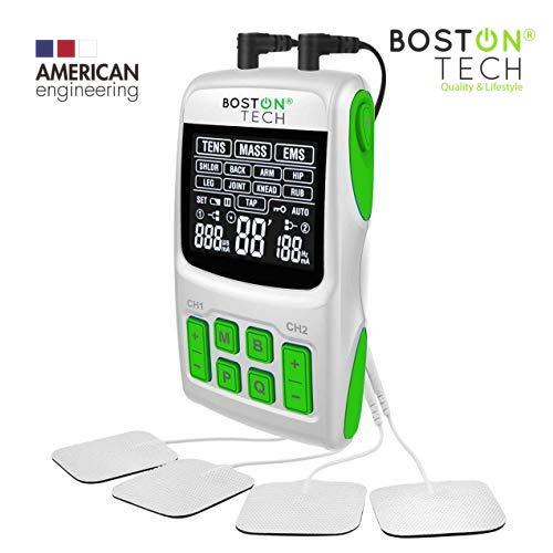 Boston Tech - WE-112 - Electroestimulador Digital Profesional 3 en 1, TENS, EMS, Masaje. Alivio al Dolor y Fortalecimiento Muscular General, Pantalla LCD, 2 Canales, 4 electrodos autoadhesivos