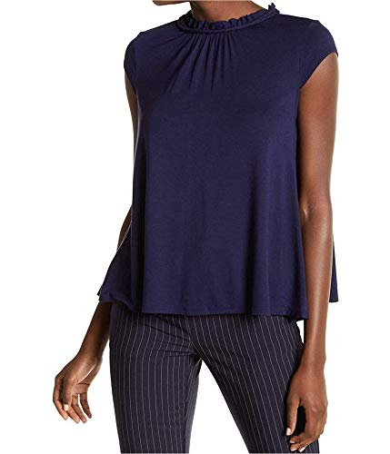 Tommy Hilfiger Womens Solid Cap Sleeve Pullover Blouse, Blue, X-Large
