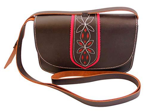 Funrey Bolso rociero de piel marrón Chocolate de Ubrique.Tiene Cabida para llevar Móvil, pañuelos, neceser, llaves, etc. Especial para ferias y romerías. Medidas: 20x14x6cms.