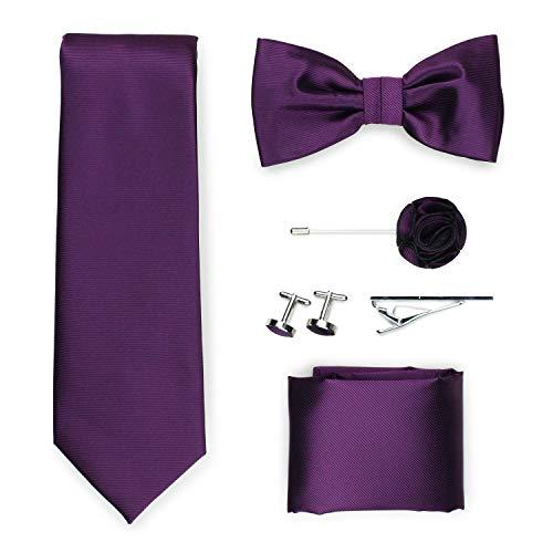 Puccini Exklusive Gentleman Geschenkbox mit Krawatte, Fliege, Einstecktuch, Krawattennadel, Manschettenknöpfe, Anstecknadel im klassischen Paisley-Muster (Violett)
