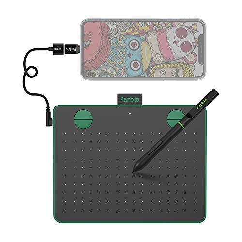 Mesa Digitalizadora Parblo A640 V2 Tablets de Design Gráfico, com função de inclinação de Stylus sensibilidade de pressão de 8192 níveis 4 teclas expressas 6 x 4 polegadas portátil, verde