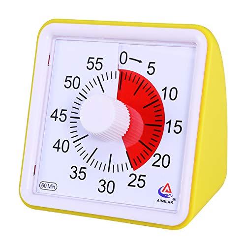 AIMILAR Temporizador visual de 60 minutos, herramienta de gestión de tiempo silenciosa, para aula o reuniones, reloj de cuenta atrás para niños y adultos amarillo